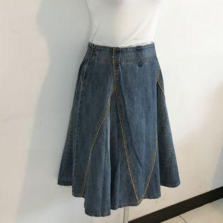 正韓製 車線造型牛仔及膝裙