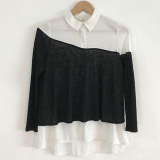 正韓製 質感假兩件雪紡襯衫
