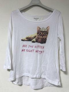 幽默小貓 七分袖上衣