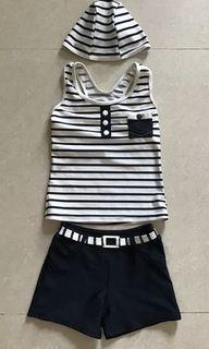 女童泳裝 (三件式 ,含泳帽、泳衣、泳褲;適合2~4歲女童)