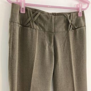 外國品牌 mandee 棉麻交叉直筒落地寬褲