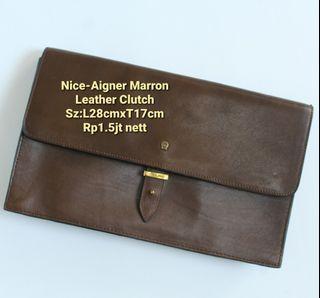 Authentic Aigner Marron Leather Clutch