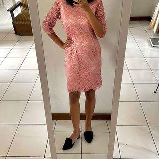 Braidsmaid Lace Dress Baby Pink with furing   NO BRAND