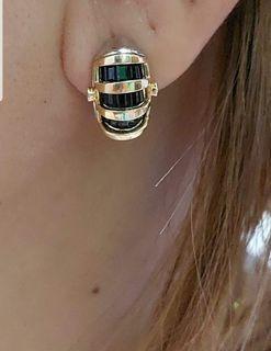 Earring k18/p.t  w/ blue sapphire/diamond