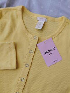 FOREVER 21 GIRLS / KIDS  KNIT TOP / YELLOW BUTTON DOWN LONGSLEEVES