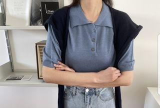 [Grass Room]全新僅試穿 霧藍色柔軟polo領針織衫