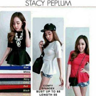STACY PEPLUM TOP - (RED ONLY)
