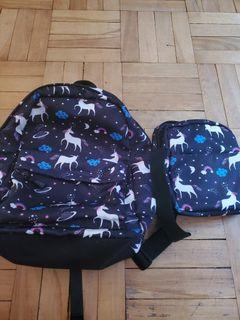 Unicorn 2 piece backpack set luchbag