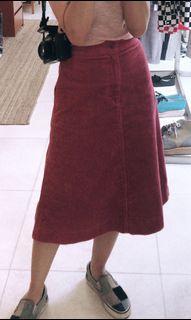 Uniqlo Corduroy Red Skirt