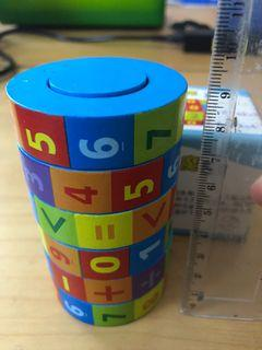 Cylinder number rubik/mainan kayu belajar angka/wooden number rubik