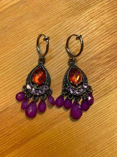 紫色民族風夾式耳環(可改耳針式)*搭配衣服一起買,只要50元!