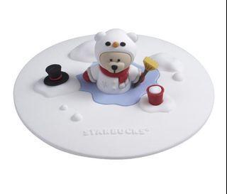 全新 星巴克聖誕節限定雪人小熊矽膠杯蓋