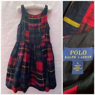 Auth. Ralph Lauren Plaid Red Dress_5T on tag_Fits earlier 3-4T_LN