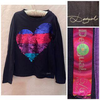 Desigual Sequinned Interactive Long Sleeved Top_ 5-6T on tag_fits earlier 4-5T_ Like New