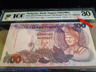 [First Prefix] 6th Series Malaysia 100 Ringgit