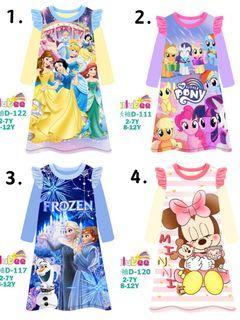 Girl Kids Pyjamas Sleeping Dress Disney Princess Elsa Frozen Minnie Mouse Little Pony