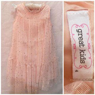 Great Kids Sparkly Tulle Dress_4T on tag_fits 3-5T_Euc_Peach color