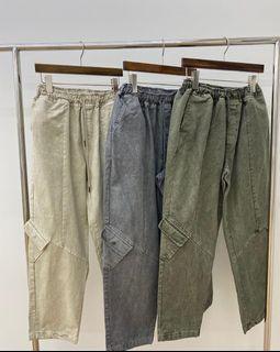 High five 韓製墨色水洗工裝斜口袋長褲