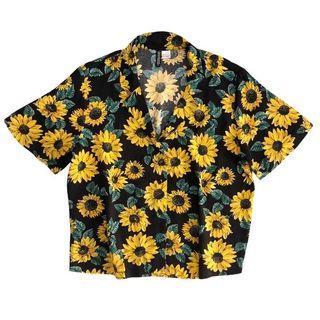 H&m Boxy Shirt Black/sunflower