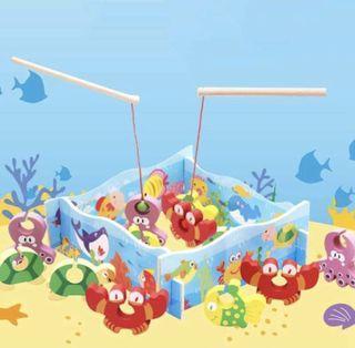 Mainan kayu puzzle anak memancing/Wooden puzzle fishing game