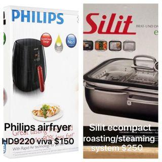 Philips airfryer viva $150, Silit ecompact roasting steaming system $250, Bosch juicer $100, Novita water purifier $90, PS3 $60, Altec Lansing sound system $40, Tefal handheld vaccum stick $100