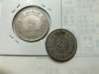 State of north borneo 5cent n 2 1/2 cent