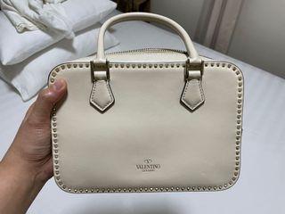 Valentino rockstud briefcase ivory