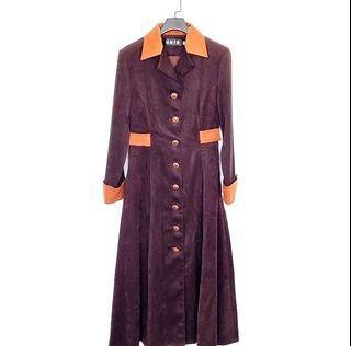 Vintage ::: 古著咖啡棕色絨布微硬挺排釦傘裙洋裝