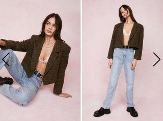 NASTYGAL Vintage Oversized Cropped Tweed Blazer