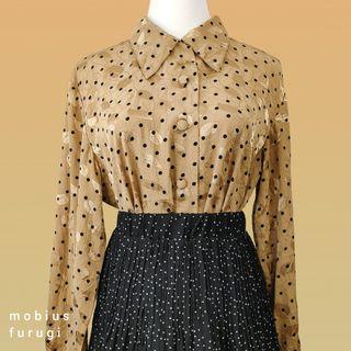 Y0211 金色 刺繡 反光 長袖 襯衫 復古 古著