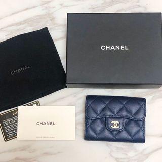 保留)原價2萬Chanel經典雙層卡包 海軍藍金釦荔枝皮 非黑色非boy款