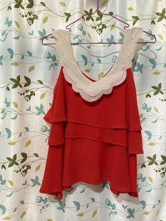 紅色無袖上衣