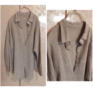 棉麻細直紋襯衫罩衫