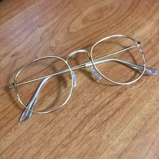 文青眼鏡鏡框 金色 無鏡片