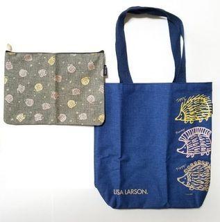 全新 包平郵 LISA LARSON Hedgehog 3 Brothers Bag & Pouch 2 pieces Set 側孭袋 化妝袋 日本雜誌附錄