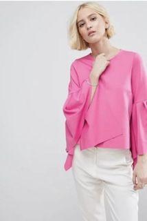 (全新品)英國ASOS桃粉色圓領長喇叭袖上衣