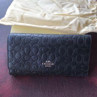 Coach long wallet logo emboss black