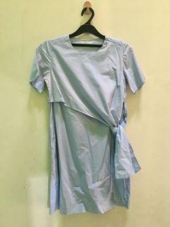 ET CETERA Simple Baby Blue Dress/Belt Bow