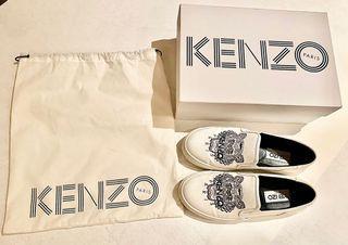 KENZO女款白色帆布老虎頭懶人鞋/樂福鞋 (九五成新)
