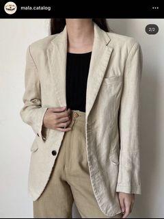 LINEN cream  structured blazer