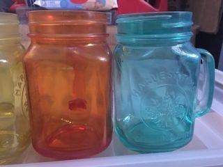 Mason jar drinking glasses with handle 4 colors 1 bundle