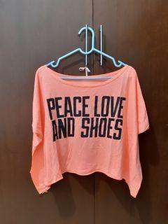 Peace Love and Shoes Crop Top
