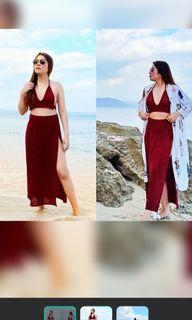 Red swimsuit terno