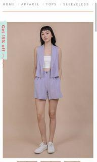 The tinsel rack marcel short and vest in lilac