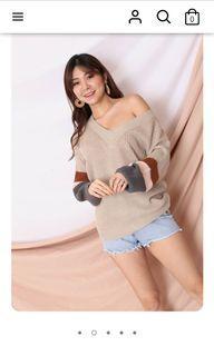 Topazette tri color sweater in oatmeal