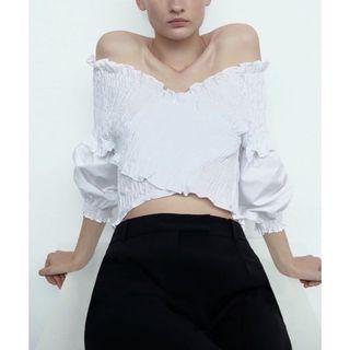 zara燈籠袖鬆緊帶設計短版上衣S#排行榜
