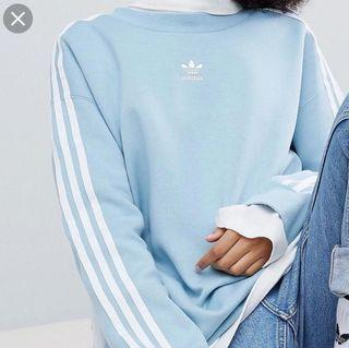 Adidas light blue trefoil sweatshirt XS