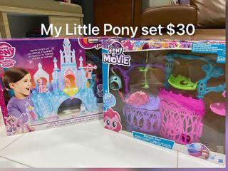 2sets of My Little Pony castles@ $30, Mattel Barbie Dreamtopia castle set $40