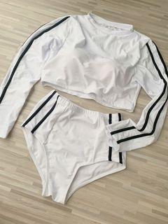 [instock] two piece white black stripe long sleeve padded swim suit