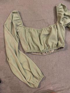 Mercci翠綠方領短板上衣